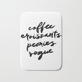 coffee croissants peonies Bath Mat