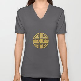 Cai / Wealth In Rust-Red And Beige Unisex V-Neck
