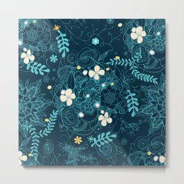 Dark floral delight Metal Print