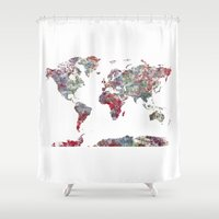 map Shower Curtains featuring World Map  by MapMapMaps.Watercolors