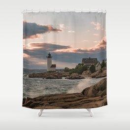 Annisquam Lighthouse sunset Shower Curtain
