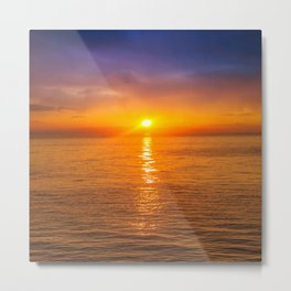 Dawn at Black sea. Morning seascape with mountains.  Metal Print