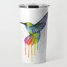 Hummingbird Rainbow Watercolor Travel Mug