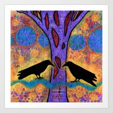 Two Ravens Sit & Reflect on Life Art Print