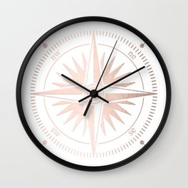 Rose Gold on White Compass Wall Clock