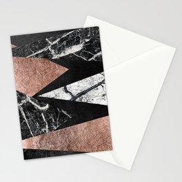 Elegant Modern Marble, Rose Gold, & Black Foil Triangles Stationery Cards