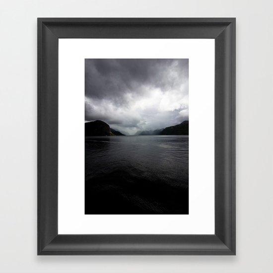 Clouded Fjord Framed Art Print