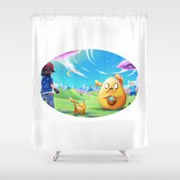 finn and jake Shower Curtains featuring Ash meets Finn and Jake by Laurence Andrew Page Illustrator