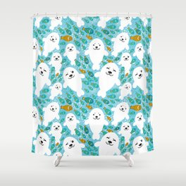 White cute fur seal and fish in water Shower Curtain