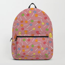 Happy Lollipops Sugar Candy Red Background Backpack