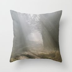 Sunlight through mist along a remote country track. Norfolk, UK. Throw Pillow