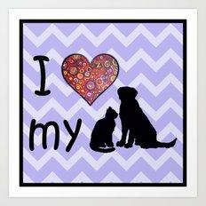 I heart my dog & cat Art Print