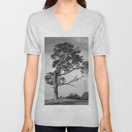 Lonely pine on a hill Unisex V-Neck