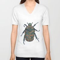 beetle V-neck T-shirts featuring Beetle by MSRomeiro