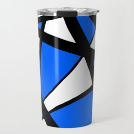 China Blue Geometric Triangle Abstract Inverse Travel Mug