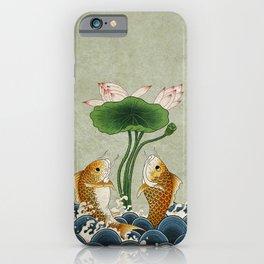 Jumping Carps and lotus A type: Minhwa-Korean traditional/folk art iPhone Case