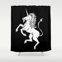 unicorn Shower Curtains featuring UNICORN by Matthew T. Wilson
