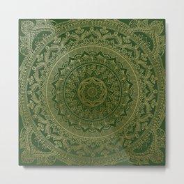 Mandala Royal - Green and Gold Metal Print