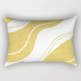 Uplifting golden wavy lines on white background Rectangular Pillow