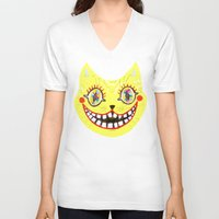 cheshire cat V-neck T-shirts featuring Cheshire Cat by Janna Morton