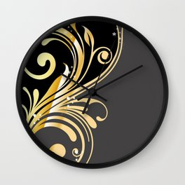 Gold Foil and Black Wall Clock