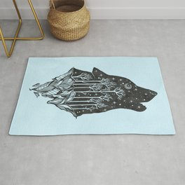 Adventure Wolf - Nature Mountains Wolves Howling Design Black on Turquoise Blue Rug