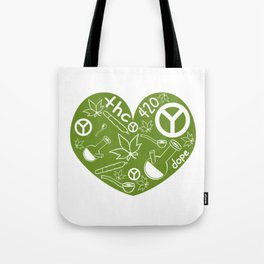 """A Nice Cannabis Tee For High Persons """"The 420"""" T-shirt Design Dope Peace Pot Cigarette Pipe Plants Tote Bag"""