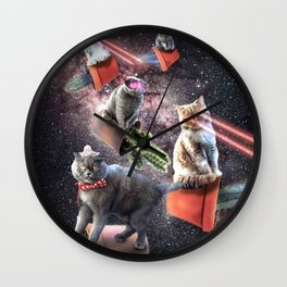 Galaxy Laser Cactus Cat - Space Cactus Cats with Lazer Eyes Wall Clock