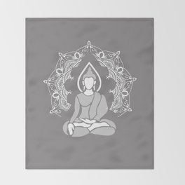 Meditation Buddha Mandala - light grey Throw Blanket