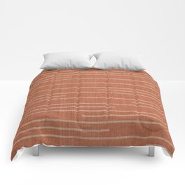 Geometric Art, Colorful Stripes Mudcloth, Terracotta Comforters