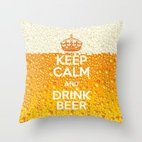 beer Throw Pillows featuring Beer by Text Guy