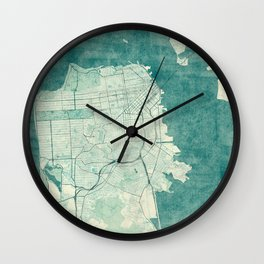 San Francisco Map Blue Vintage  Wall Clock