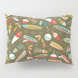 Fishing Lures Green Pillow Sham