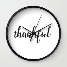 Thankful Lettering Design Wall Clock
