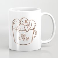 bunnies Mugs featuring bunnies by Charlotte Kim