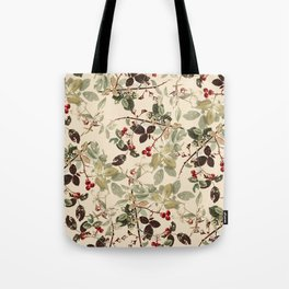 Vintage ivory red green forest berries floral Tote Bag