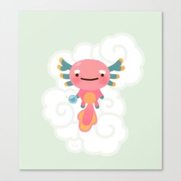 Umpearl - Axolotl with magic pearl Canvas Print
