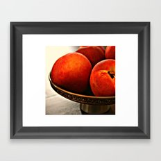 Peaches in Pewter Bowl Framed Art Print