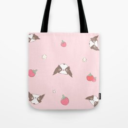 """Japanese chin Mochio """"STRAWBERRY AND MOCHIO"""" Tote Bag"""