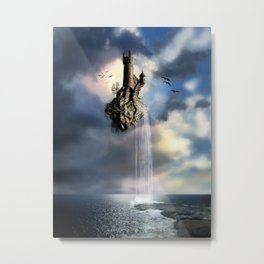 Surreal Castle Waterfall Metal Print