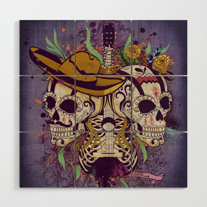 Day of the dead Wood Wall Art