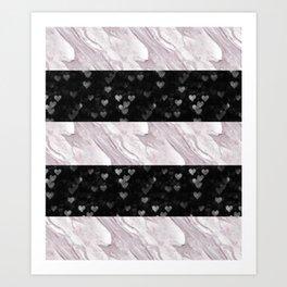 Pink Marble & Black Bokeh Digital Design | Stripes | Pattern Art Print