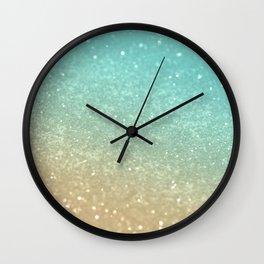 Sparkling Gold Aqua Teal Glitter Glam #1 #shiny #decor #society6 Wall Clock