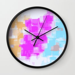 pink orange and blue painting square pattern with white background Wall Clock