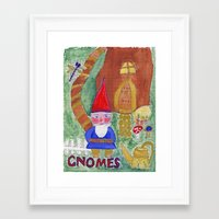 gnome Framed Art Prints featuring Gnome by caraemoore