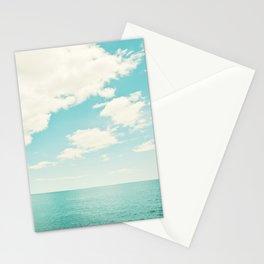 Turquoise Ocean Landscape Art, Aqua Blue Seascape Photo, Teal Sea Horizon Photography Stationery Cards
