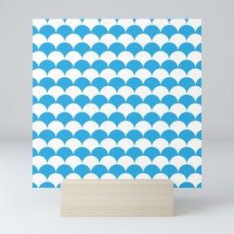 Blue Fan Shell Pattern Mini Art Print