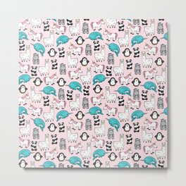 Panda, Narwhal, Llama, Penguin, Hippo, Girl's Animal Illustrations, Pink Print Metal Print