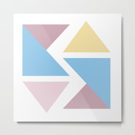 Geometric triangle pastel origami Metal Print