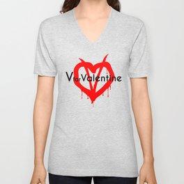V for Valentine. Happy Valentine's day Unisex V-Neck